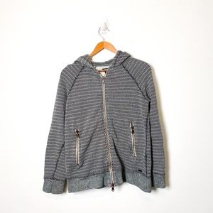 Roots Grey Striped Zip Up Athleisure Hoodie Sweater